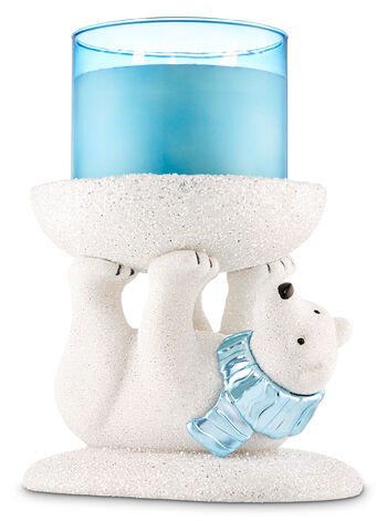 Sparkly Polar Bear Pedestal 3-Wick Candle Holder - Bath And Body Works