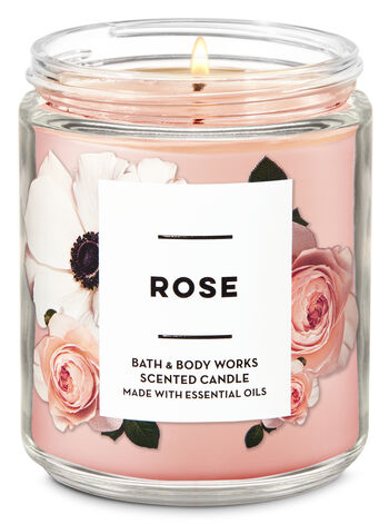 Rose Single Wick Candle - Bath And Body Works