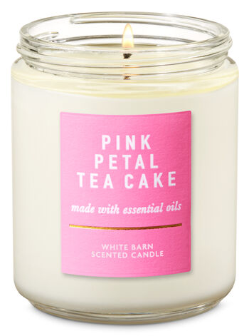 Pink Petal Tea Cake Single Wick Candle - Bath And Body Works