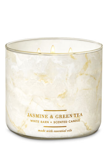 White Barn Jasmine & Green Tea 3-Wick Candle - Bath And Body Works
