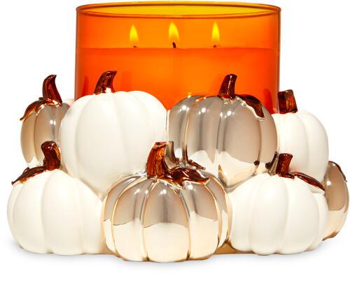 Modern Pumpkins 3-Wick Candle Holder