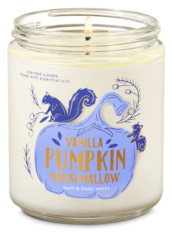 Vanilla Pumpkin Marshmallow Single Wick Candle - Bath And Body Works