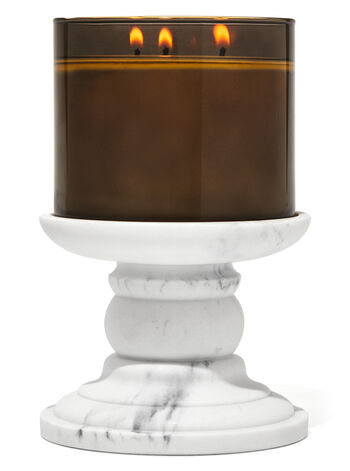 Marble Pedestal 3-Wick Candle Holder