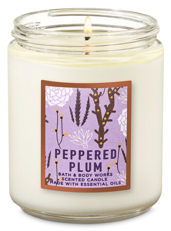 Peppered Plum Single Wick Candle - Bath And Body Works