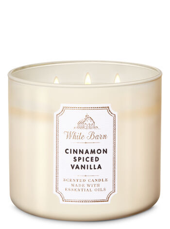 White Barn Cinnamon Spiced Vanilla 3-Wick Candle - Bath And Body Works
