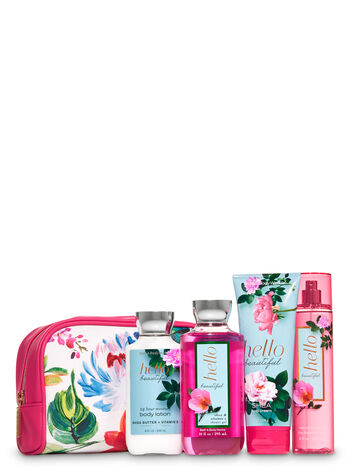 Hello Beautiful Floral Cosmetic Bag Gift Set