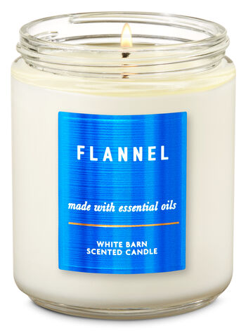White Barn Flannel Single Wick Candle - Bath And Body Works
