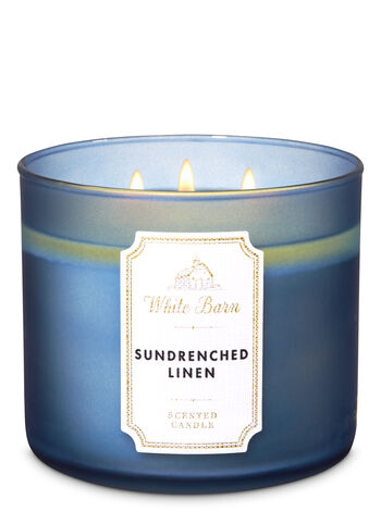 Sundrenched Linen 3 Wick Candle White Barn Bath Body Works