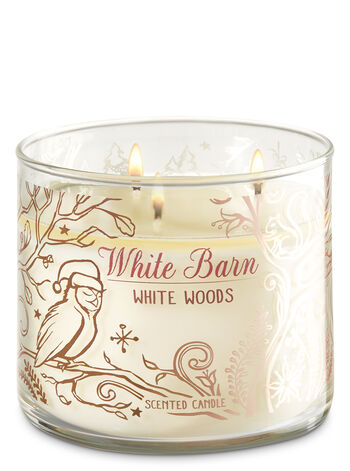 White Barn White Woods 3-Wick Candle - Bath And Body Works