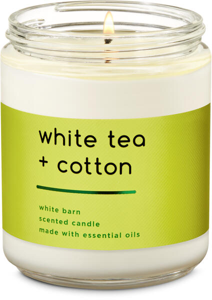 White Tea & Cotton Single Wick Candle