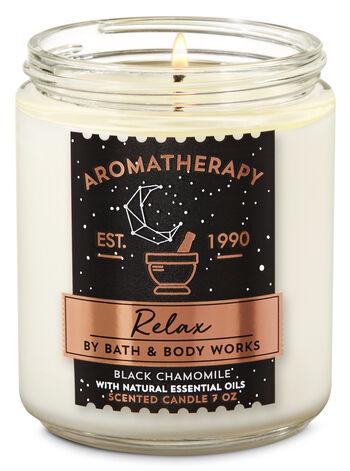 Aromatherapy Black Chamomile Single Wick Candle - Bath And Body Works