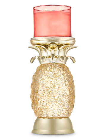 Pineapple Water Globe Pedestal 3-Wick Candle Holder