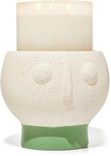 Ceramic Face Pedestal 3-Wick Candle Holder