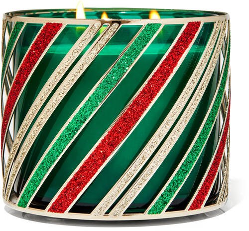 Holiday Stripes 3-Wick Candle Holder
