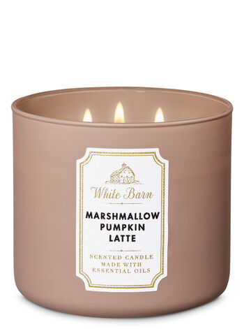 White Barn Marshmallow Pumpkin Latte 3-Wick Candle - Bath And Body Works