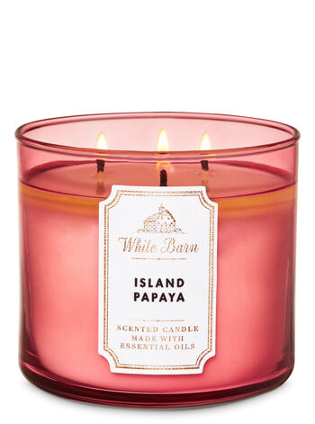 White Barn Island Papaya 3-Wick Candle - Bath And Body Works