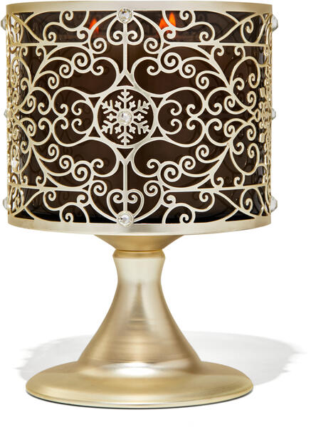 Ornate Snowflake Scroll Pedestal 3-Wick Candle Holder