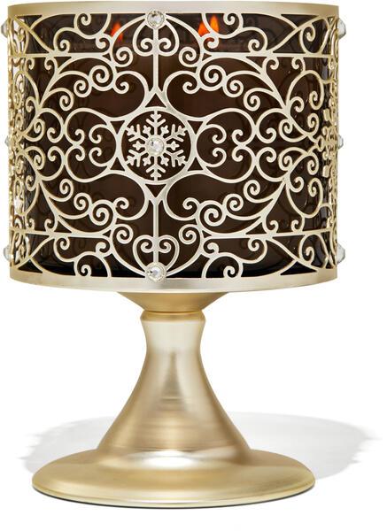 Ornate Snowflake Scroll Pedestal 3-Wick Candle Holder