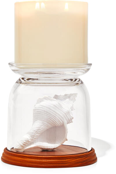 Conch Cloche Pedestal 3-Wick Candle Holder
