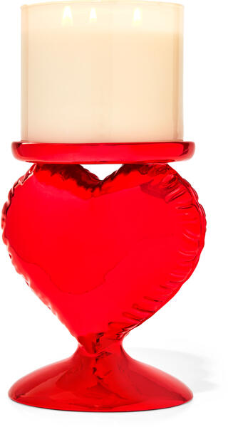 Red Heart Balloon Pedestal 3-Wick Candle Holder