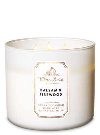 White Barn Balsam & Firewood 3-Wick Candle - Bath And Body Works