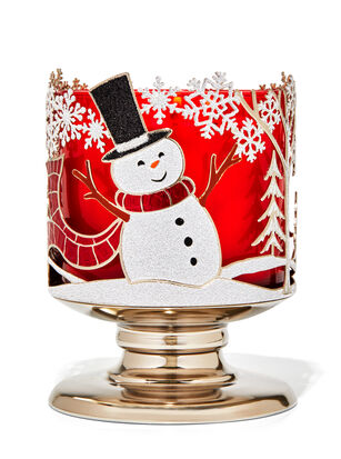 Joyful Snowman 3-Wick Candle Holder