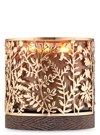 Gold Botanical 3-Wick Candle Holder