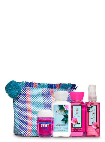 Hello Beautiful Woven Cosmetic Bag Gift Set