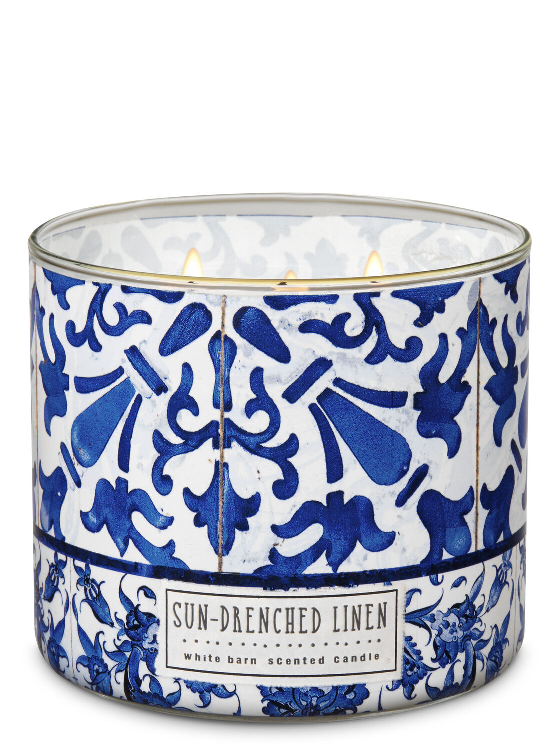 Sun Drenched Linen 3 Wick Candle White Barn Bath Body Works