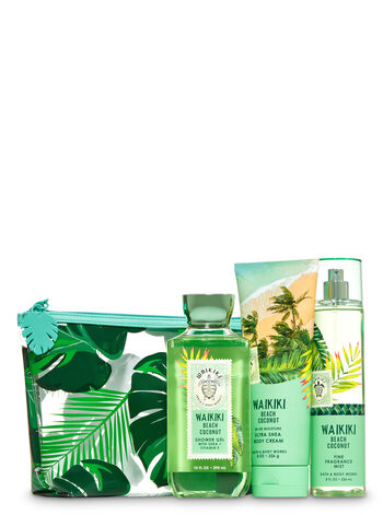 Waikiki Beach Coconut Cosmetic Bag Gift Set