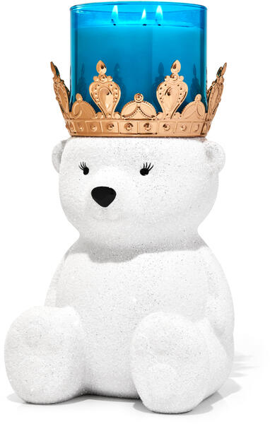 Royal Polar Bear Pedestal 3-Wick Candle Holder
