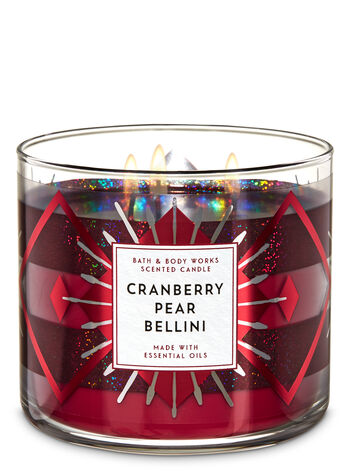 White Barn Cranberry Pear Bellini 3-Wick Candle - Bath And Body Works