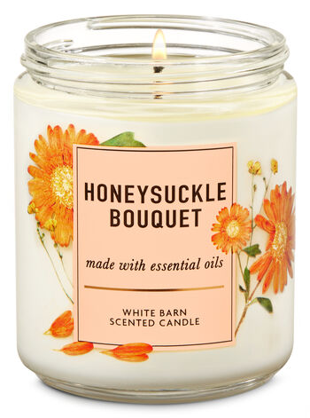 Honeysuckle Bouquet Single Wick Candle - Bath And Body Works