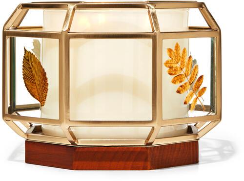 Glass Geometric Fall 3-Wick Candle Holder