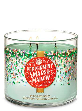 Peppermint Marshmallow 3-Wick Candle - Bath And Body Works