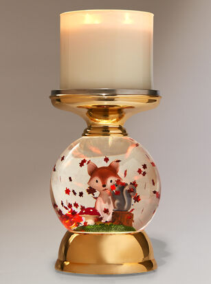 Forest Friends Water Globe Pedestal 3-Wick Candle Holder