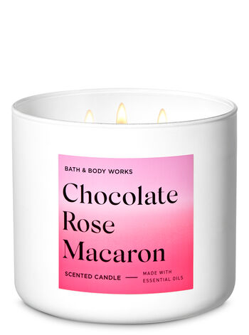 Chocolate Rose Macaron 3-Wick Candle - Bath And Body Works