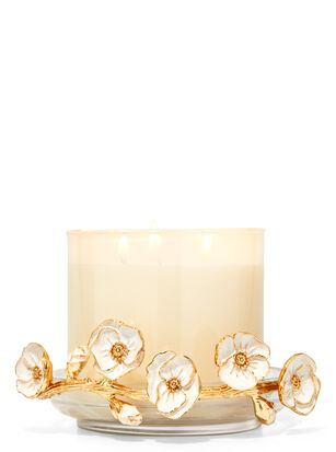 Glass Floral Branch 3-Wick Candle Holder