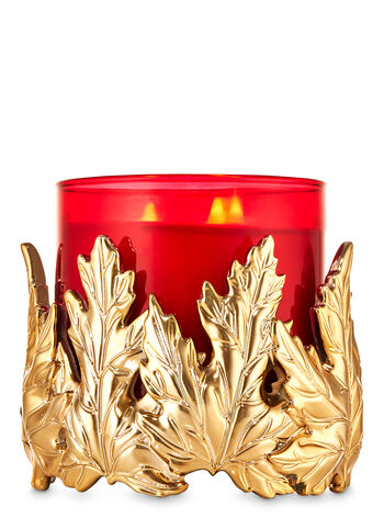 Gold Leaves 3-Wick Candle Holder