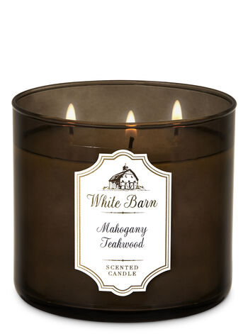 White Barn Mahogany Teakwood 3-Wick Candle - Bath And Body Works
