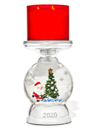 Water Globe Santa Pedestal 3-Wick Candle Holder