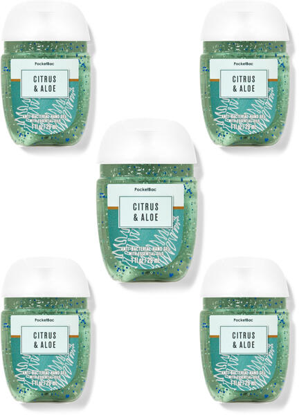 Citrus & Aloe PocketBac Hand Sanitizers, 5-Pack
