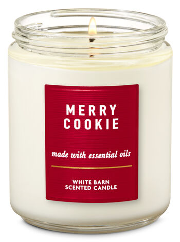 White Barn Merry Cookie Single Wick Candle - Bath And Body Works