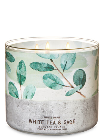 White Tea & Sage 3-Wick Candle - Bath And Body Works