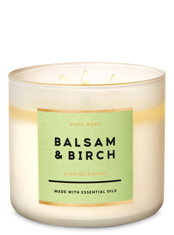 White Barn Balsam & Birch 3-Wick Candle - Bath And Body Works