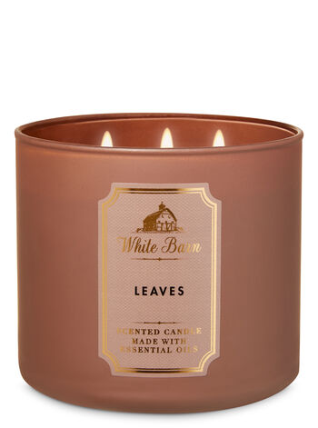 White Barn Leaves 3-Wick Candle - Bath And Body Works
