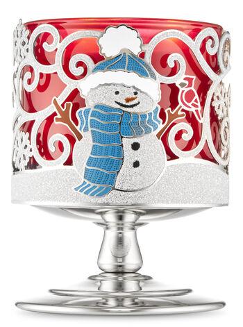 Snow Buddies Pedestal 3-Wick Candle Holder