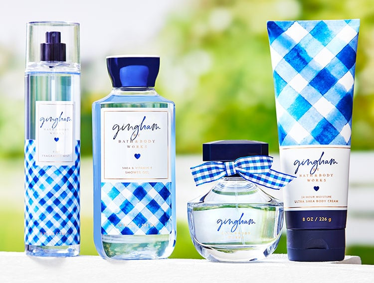 Gingham skin care Bath and Body Works