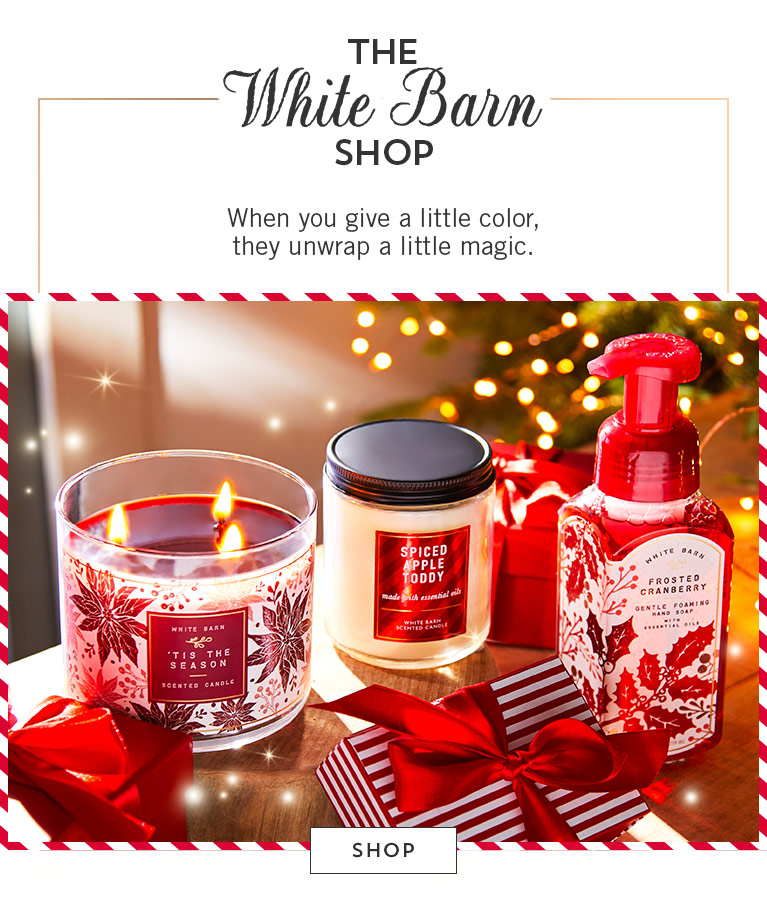 The White Barn Shop. When you give a little color, they unwrap a little magic. Shop now.