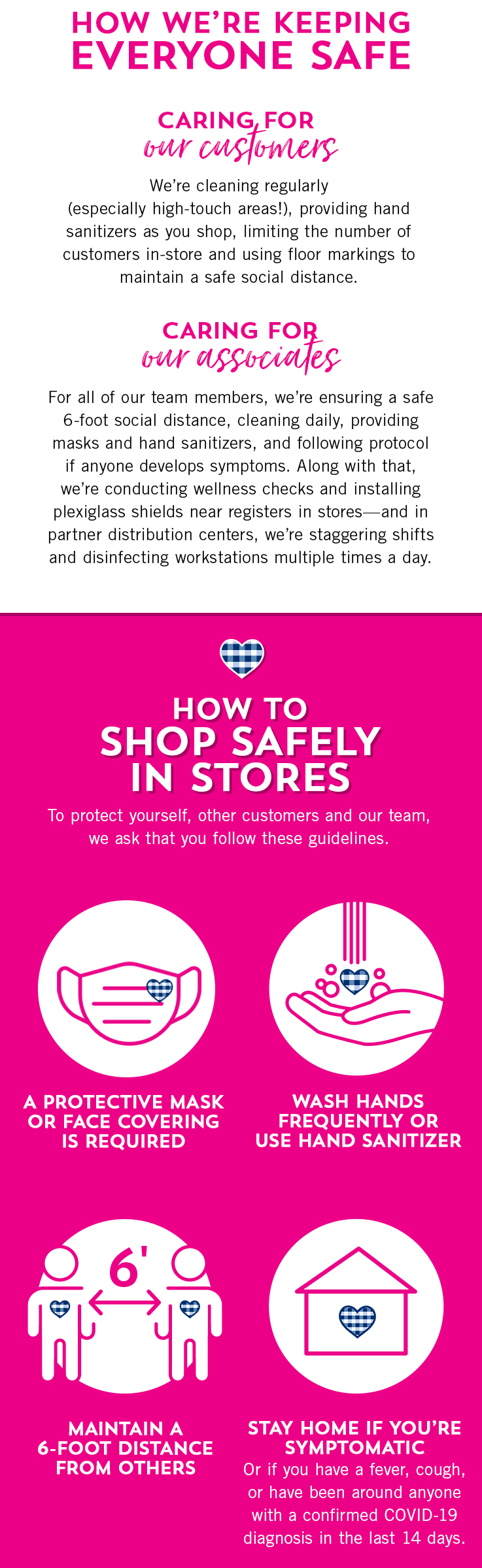 Here's how we're keeping everyone safe. To care for our customers, we're cleaning regularly (especially high-touch areas!), providing hand sanitizers as you shop, limiting the number of customers in-store and using floor markings to maintain a safe social distance. To care for all of our team members, we're ensuring a safe 6-foot social distance, cleaning daily, providing masks and hand sanitizers, and following protocol if anyone develops symptoms. Along with that, we're conducting wellness checks and installing plexiglass shields near registers in stores—and in partner distribution centers, we're staggering shifts and disinfecting workstations multiple times a day. Here's how to shop safely in stores. To protect yourself, other customers and our team, we ask that you wear a protective mask or face covering, wash hands frequently or use hand sanitizer, maintain a 6-foot distance from others, and stay home if you're symptomatic or if you have a fever, cough, or have been around anyone with a confirmed COVID-19 diagnosis in the last 14 days.